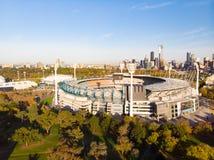 Melbourne-Skyline-Antenne mit Magnetkardiogramm stockfotografie