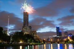 Melbourne Skyline at on Australia Day Royalty Free Stock Image
