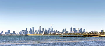Melbourne Skyline on Bright Sunny Day Stock Photo
