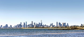 Melbourne Skyline on Bright Sunny Day Stock Photography