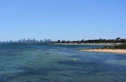 Melbourne skyline from Brighton Beach Gardens Stock Image