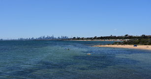 Melbourne skyline from Brighton Beach Gardens Stock Photo