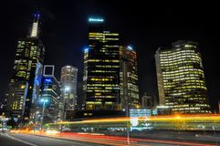 Melbourne skyline at night royalty free stock photo