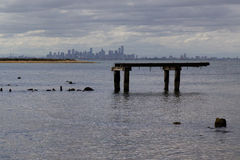 Melbourne Skyline From The Coast. Melbourne skyline as seen from Point Cook, Victoria, Australia Stock Images
