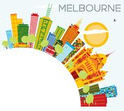 Melbourne Skyline with Color Buildings, Blue Sky and Copy Space. Vector Illustration. Business Travel and Tourism Concept with Modern Architecture Royalty Free Stock Photo