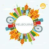 Melbourne Skyline with Color Buildings, Blue Sky and Copy Space. Vector Illustration. Business Travel and Tourism Concept with Modern Architecture Stock Illustration