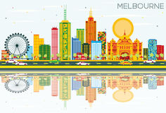 Melbourne Skyline with Color Buildings, Blue Sky and Reflections. Vector Illustration. Business Travel and Tourism Concept with Modern Architecture. Image for Stock Illustration