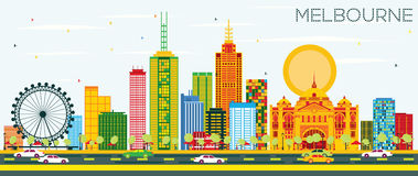 Melbourne Skyline with Color Buildings and Blue Sky. Vector Illustration. Business Travel and Tourism Concept with Modern Architecture. Image for Presentation Stock Illustration