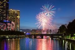 Melbourne Skyline with Fireworks at Dusk Stock Image