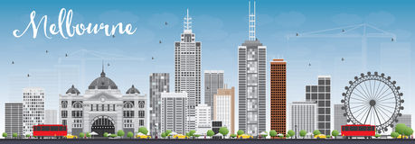 Melbourne Skyline with Gray Buildings and Blue Sky. Royalty Free Stock Images