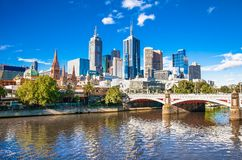 Melbourne skyline looking towards Flinders Street Station Stock Photo