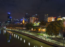 Melbourne skyline at night in australia Royalty Free Stock Images