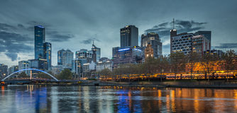 Melbourne Skyline. Night skyline of Melbourne looking accross the Yarra River towards the main CBD Royalty Free Stock Image