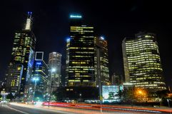 Melbourne skyline at night royalty free stock image