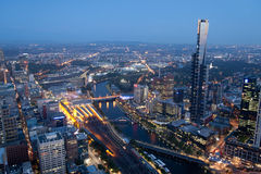 Melbourne Skyline by night Royalty Free Stock Images