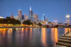 Melbourne Skyline at night Stock Photo