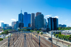 Melbourne skyline over railway tracks Royalty Free Stock Image