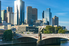 Melbourne skyline with Princess bridge on sunny day stock images