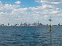 Melbourne skyline seen from Port Phillip Bay Royalty Free Stock Photos