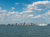 Melbourne skyline seen from Port Phillip Bay Stock Images
