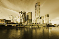 Melbourne Skyline Sepia Tone Stock Photography