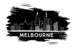 Melbourne Skyline Silhouette. Hand Drawn Sketch. Royalty Free Stock Photos
