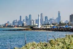 Melbourne skyline from St. Kilda Stock Photography