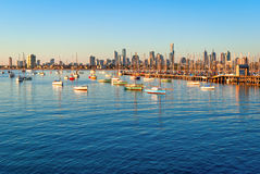 Melbourne skyline from St Kilda at sunset Royalty Free Stock Photo