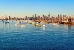 Melbourne skyline from St Kilda at sunset. (Victoria, Australia Royalty Free Stock Photo
