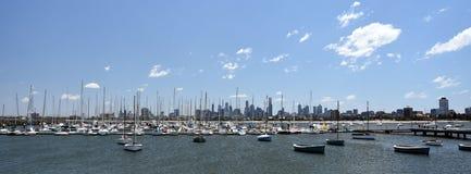 Melbourne skyline from St Kilda Stock Photo