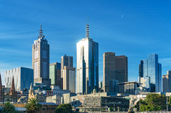 Melbourne skyline on sunny day. Skyscrapers and historic buildings of Melbourne CBD, Central Business District on bright sunny day. Australia Royalty Free Stock Image
