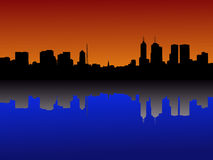 Melbourne Skyline at sunset Stock Photo