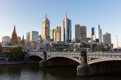 Melbourne Skyline at Sunset Stock Images
