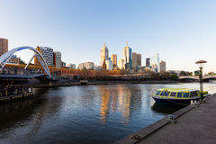 Melbourne Skyline at Sunset Stock Photos