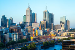 Melbourne Skyline  Towards Flinders St Stock Image