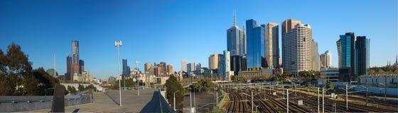 Melbourne skyline and train tracks Royalty Free Stock Photos