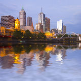 Melbourne Skyline at Twilight. Melbourne CBD and Yarra River at twilight, with a Photoshop reflection in the river Royalty Free Stock Photography