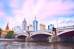 Melbourne skyline at twilight Stock Image