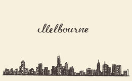 Melbourne skyline vector engraved drawn sketch Stock Photo