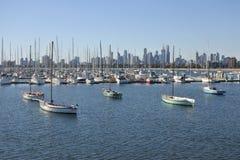 Melbourne city Skyline Victoria Australia. Sailboats moored in marina against Melbourne Skyline in Victoria Australia royalty free stock image