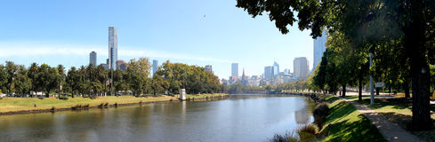 Melbourne Skyline Yarra River Stock Image