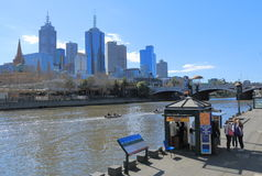 Melbourne skyline and Yarra river Royalty Free Stock Photos
