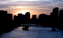 melbourne solnedgång Arkivfoto