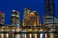 Melbourne Southbank neighbourhood at night. Melbourne Southbank neighbourhood and Yarra river at night. Long exposure Stock Photos