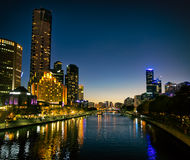 Melbourne Southbank a penombra Fotografia Stock Libera da Diritti