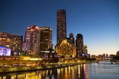 Melbourne Southbank a penombra Fotografia Stock