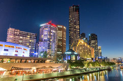 Melbourne Southbank at sunset. Beautiful city skyline Royalty Free Stock Images