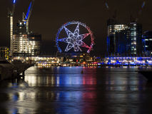 The Melbourne Star in French Colours. The Melbourne Star Observation wheel lit up in the colours of the French flag in solidarity with the people of Nice Stock Images