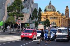 Melbourne - Straatscène Stock Afbeeldingen