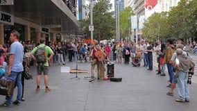 Melbourne Street musician stock footage